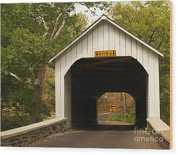 Loux Bridge And Sharp Left - Bucks County  Wood Print by Anna Lisa Yoder