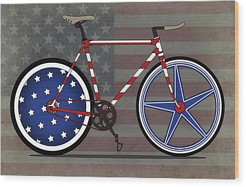 Love America Bike Wood Print by Andy Scullion