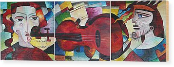 Wood Print featuring the painting Love And Music Triptych by Dorothy Maier