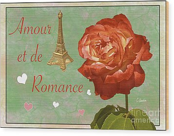 Love And Romance Wood Print by Claudia Ellis