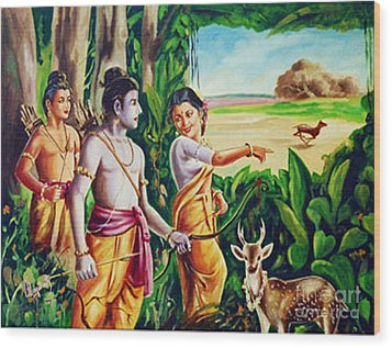 Wood Print featuring the painting Love And Valour- Ramayana- The Divine Saga by Ragunath Venkatraman