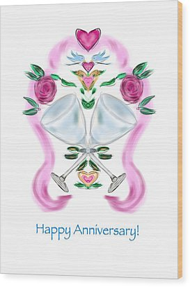 Wood Print featuring the digital art Love Birds Anniversary by Christine Fournier