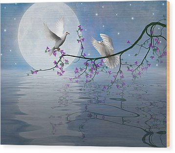 Love Birds By The Light Of The Moon-2 Wood Print by Nina Bradica