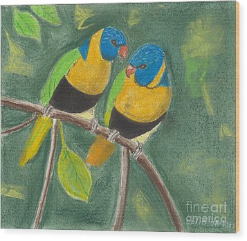 Wood Print featuring the pastel Love Birds by David Jackson