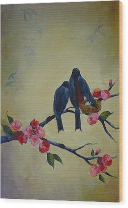 Love Birds Empty Nest Wood Print by Kelley Smith