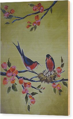 Love Birds Nesting Wood Print by Kelley Smith