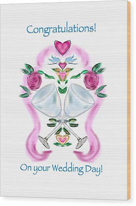 Wood Print featuring the digital art Love Birds White Wedding by Christine Fournier