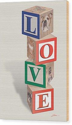 Love Blocks Wood Print by Harold Shull
