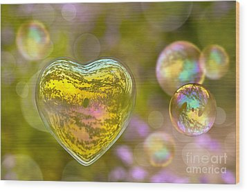 Love Bubble Wood Print by Delphimages Photo Creations
