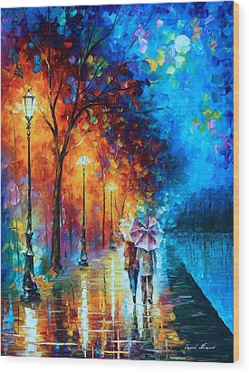 Love By The Lake Wood Print by Leonid Afremov