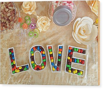 Love Candies Wood Print by Lars Ruecker