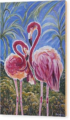 Love Flamingos  Wood Print by Yelena Rubin