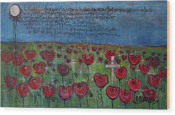 Love For Flanders Fields Poppies Wood Print by Laurie Maves ART