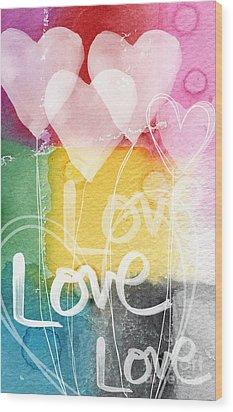 Love Hearts Wood Print by Linda Woods