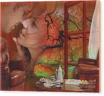 Wood Print featuring the digital art Love In Autumn - Digital Art By Giada Rossi by Giada Rossi