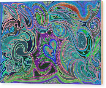 love in every shade of U v9     love in every shade of blue  Wood Print by Kenneth James