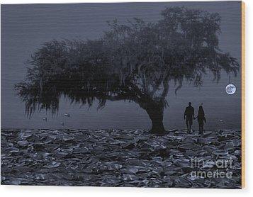 Love In Moon Light Wood Print