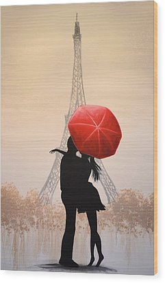 Wood Print featuring the painting Love In Paris by Amy Giacomelli