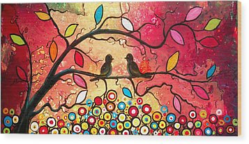 Love In The Air With Flowers Everywhere Wood Print