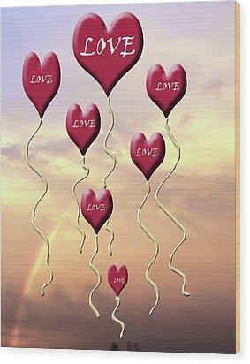 Love Is In The Air Sunshine Rainbow Wood Print by Cathy  Beharriell