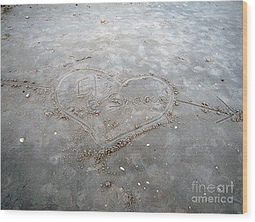 Love Letters In The Sand Wood Print by Sharon Burger