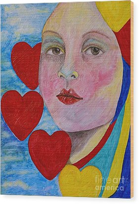 Wood Print featuring the painting Love Me Do  by Jane Chesnut