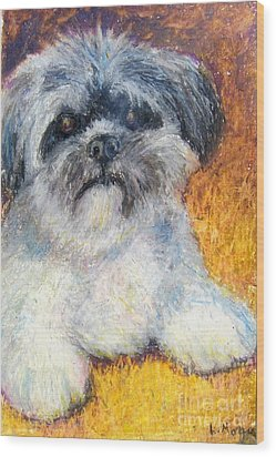 Love My Lhasa Wood Print by Laurie Morgan