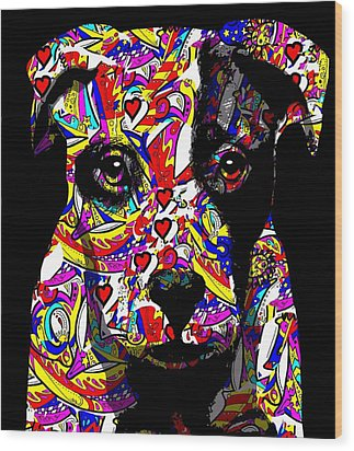 Love My Pup Wood Print by Cindy Edwards