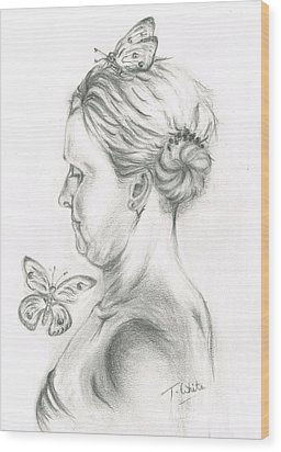 Wood Print featuring the drawing Loves- Her Butterflies by Teresa White