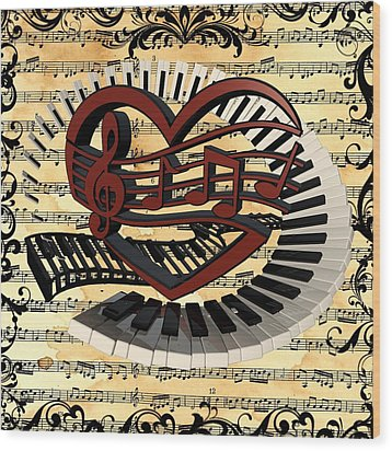 Love Of Music  Wood Print by Louis Ferreira