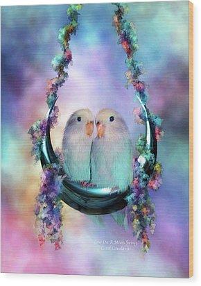 Love On A Moon Swing Wood Print