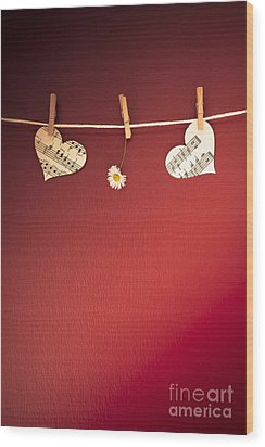 Love On The Line Wood Print by Jan Bickerton