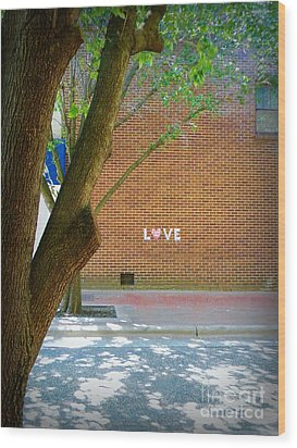 Love On The Wall Wood Print by Lorraine Heath