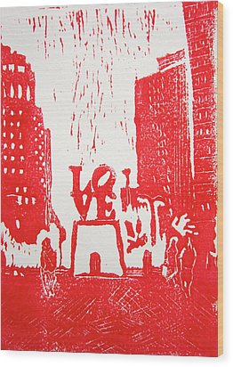 Love Park In Red Wood Print by Marita McVeigh