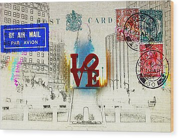 Love Park Post Card Wood Print by Bill Cannon