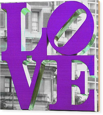 Love Philadelphia Purple Wood Print
