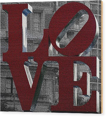 Love Philadelphia Red Mosaic Wood Print