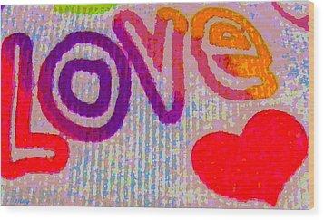 Love Wood Print by Rebecca Flaig