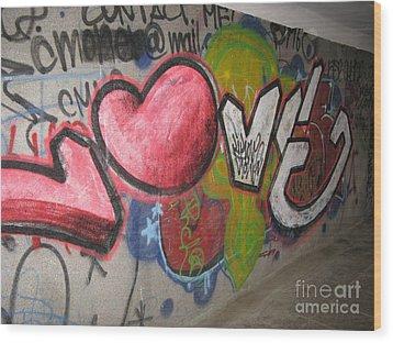 Love. Street Graffiti Wood Print by Ausra Huntington nee Paulauskaite
