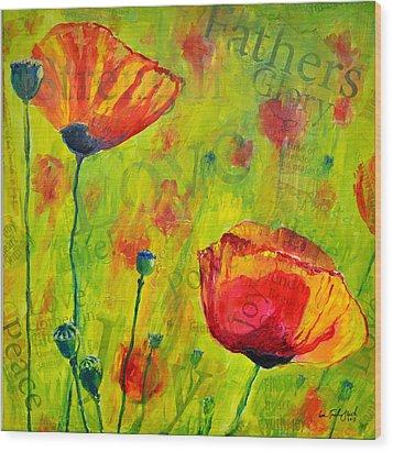 Love The Poppies Wood Print by Lisa Fiedler Jaworski