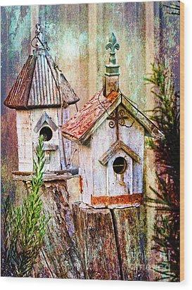 Love Thy Neighbor - Birdhouses Wood Print