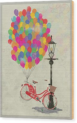 Love To Ride My Bike With Balloons Even If It's Not Practical. Wood Print by Andy Scullion
