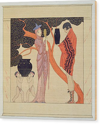 Love Token Wood Print by Georges Barbier