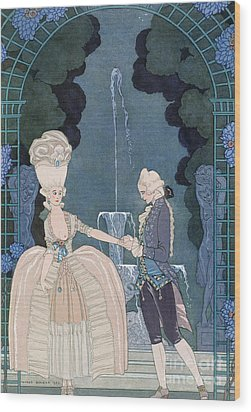 Love Under The Fountain Wood Print by Georges Barbier