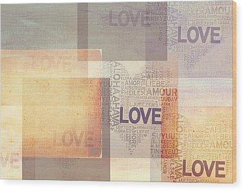Love. Vintage. Creamy Pastel Wood Print by Jenny Rainbow
