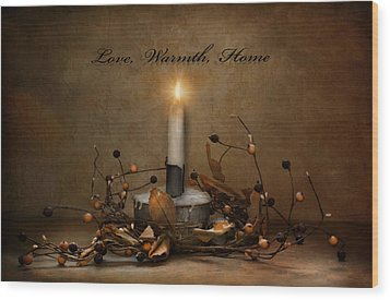 Love Warmth Home Wood Print by Robin-Lee Vieira