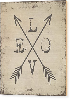 Love With Arrows Wood Print by Jaime Friedman