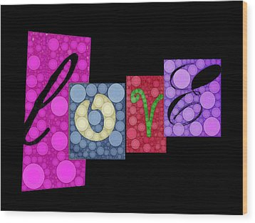 Love You Wood Print by Cindy Edwards