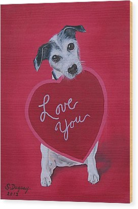 Love You Wood Print