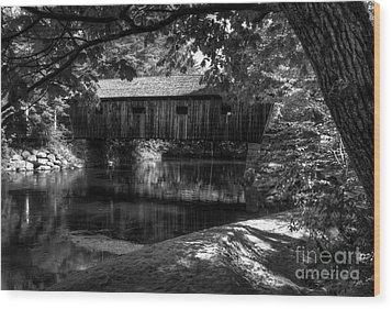 Lovejoy Covered Bridge 2bw Wood Print by Mel Steinhauer